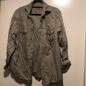 Merona Army Green Oversized Button Up